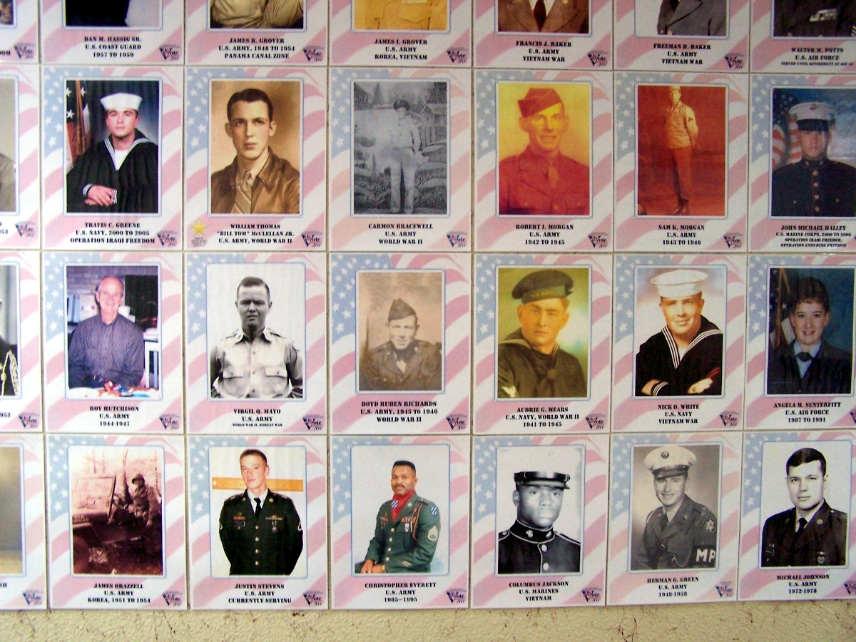 A small section of the Veterans Honor Wall in the Calhoun County Courthouse.